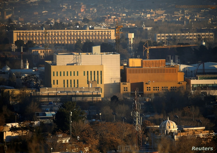 FILE - View of the US Embassy (front buildings) in Kabul, Afghanistan, Jan. 20, 2016.