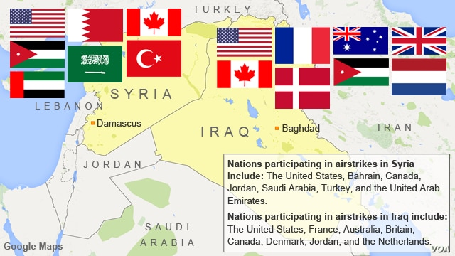 Nations participating in airstrikes in Syria and Iraq
