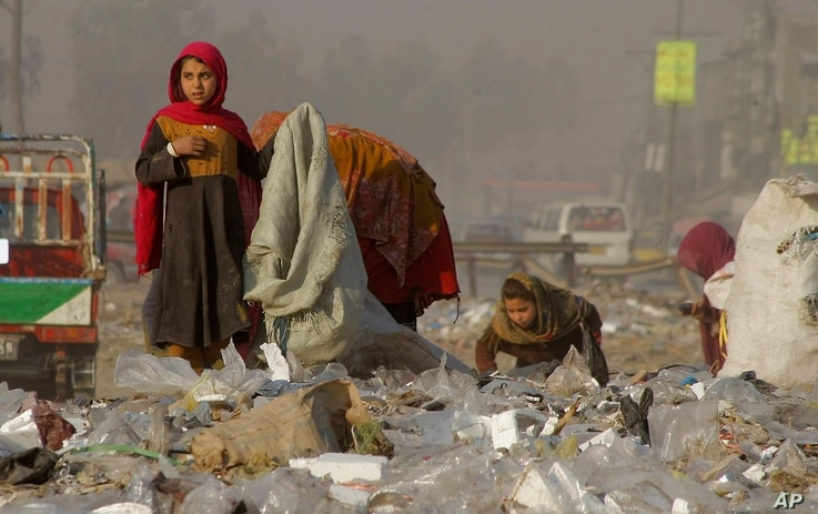 Afghan refugees girls collect recycle-able goods from a garbage to sell and earn living for their families in Peshawar, Pakistan, Feb. 5, 2016.