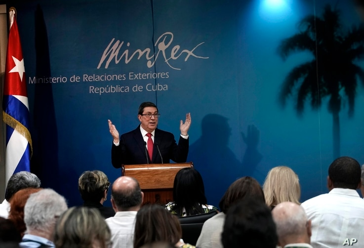 Cuba's Minister of Foreign Affairs Bruno Rodriguez Parrilla speaks during a press conference in Havana, Cuba, Feb. 19, 2019. Rodriguez warned on Tuesday that the United States is preparing a military intervention in Venezuela under the pretext of a h...