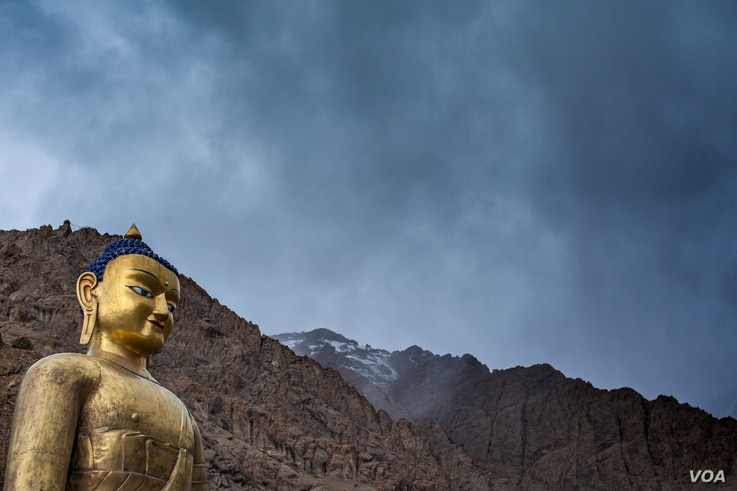 A Buddha statue overlooks Hemis Gompa, the largest monastery in Ladakh.