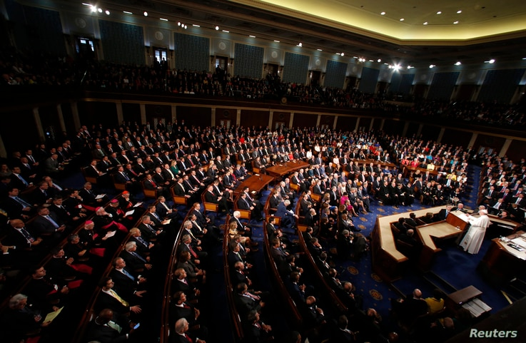 Pope Francis addresses a joint meeting of the U.S. Congress in the House Chamber on Capitol Hill in Washington, Sept. 24, 2015.