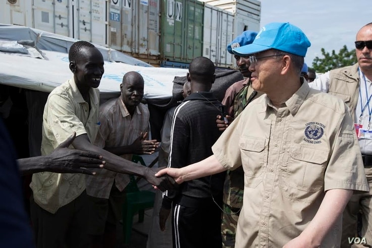 United Nations Secretary General Ban Ki-moon meets some of the thousands of displaced persons sheltering at a U.N. compound in Juba during a visit to South Sudan on May 6, 2014.