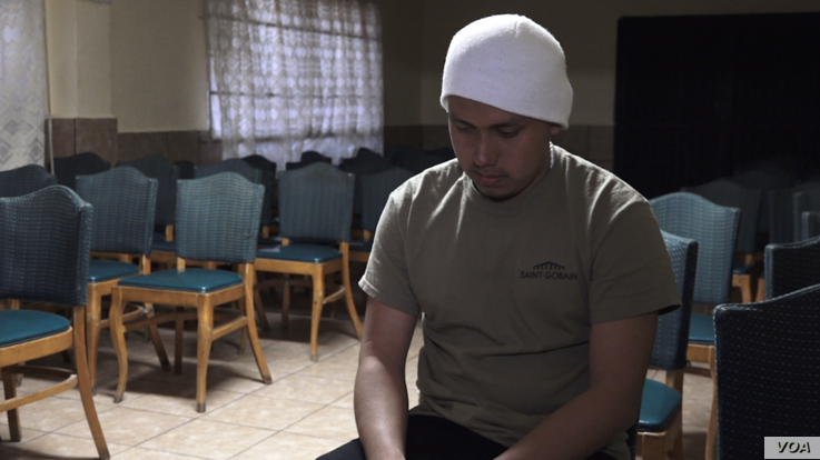 Luis Angel Garcia Gonzalez arrived at the shelter with almost nothing after a failed attempt to cross into the United States. (R.Taylor/VOA)