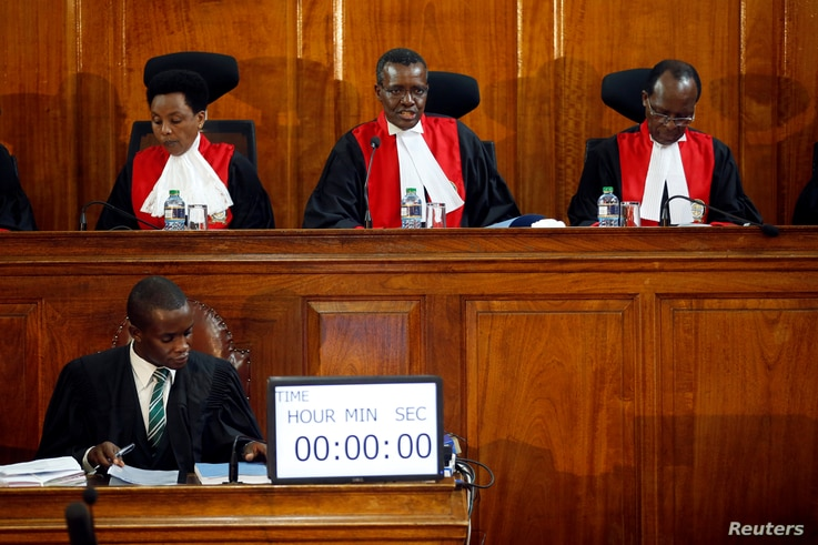 Kenya's Supreme Court judges attend a hearing regarding petitions challenging the result of the presidential election re-run at Kenya's Supreme Court in Nairobi, Nov. 14, 2017.