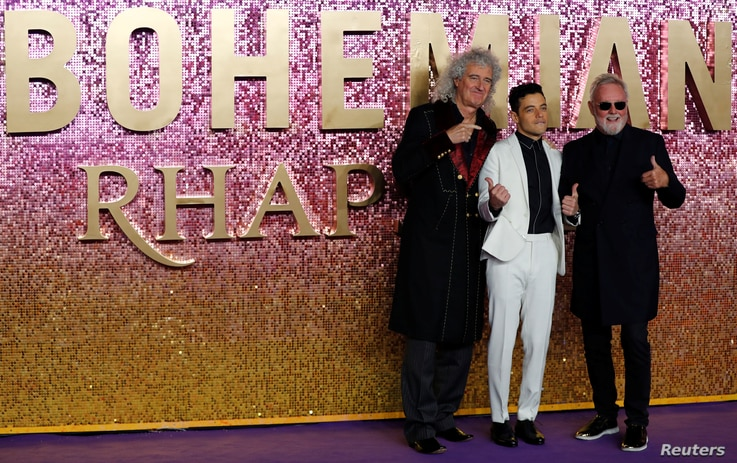 Actor Rami Malek and members of Queen Roger Taylor and Brian May attend the world premiere of 'Bohemian Rhapsody' movie in London, Britain October 23, 2018.