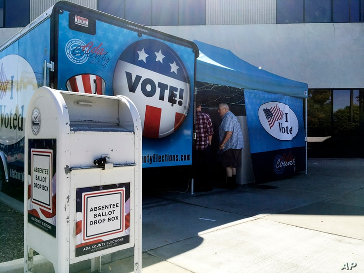 Idaho voters head to a new food truck-inspired voting unit in Boise, Idaho on Sept. 27, 2016.