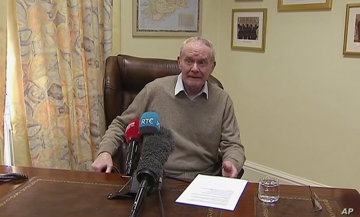 In this image taken from video, Deputy First Minister Martin McGuinness announces his resignation, Monday Jan. 9, 2017, with the declared intention to trigger early elections in the province.