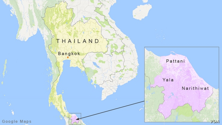Pattani, Yala and Narithiwat provinces in South Thailand