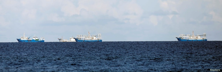 Chinese vessels are pictured in disputed South China Sea, April 21, 2017.