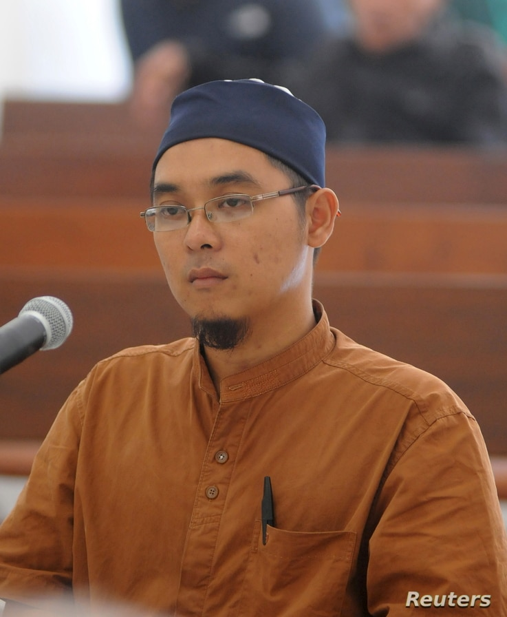 FILE - Bahrun Naim attends his trial at Solo's District Court, June 9, 2011, in this photo taken by Antara Foto. He was convicted on an ammunition possession charge. Police confirmed that Islamic State was responsible for an attack in Jakarta on Jan....