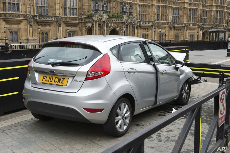This handout photo released by the Metropolitan Police on Aug. 15, 2018, shows the silver Ford Fiesta after it crashed outside the Houses of Parliament in a suspected terror attack on Aug. 14.