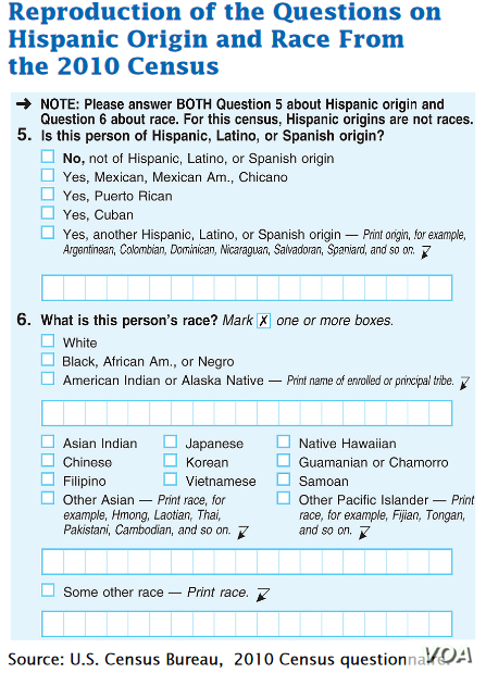Detail from 2010 Federal Census form in which citizens may now claim more than one racial identity