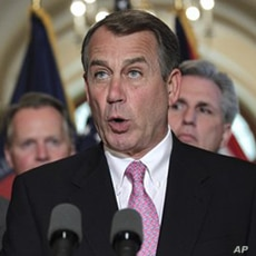 House Speaker John Boehner of Ohio, accompanied by fellow Republican leaders, makes a statement on Capitol in Washington, Monday, May 2, 2011, about the operation that killed Osama bin Laden