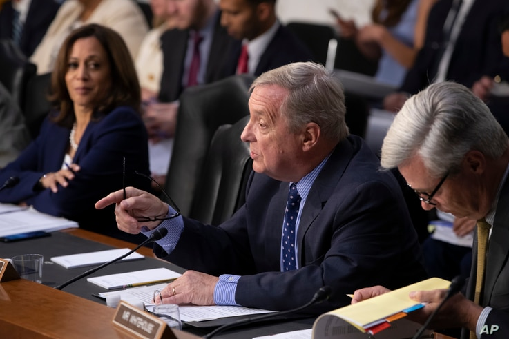 Sen. Dick Durbin, D-Ill., flanked by Sen. Kamala Harris, D-Calif., left, and Sen. Sheldon Whitehouse, D-R.I., questions witnesses as the Senate Judiciary Committee holds a hearing on the Trump administration's policies on immigration enforcement and ...