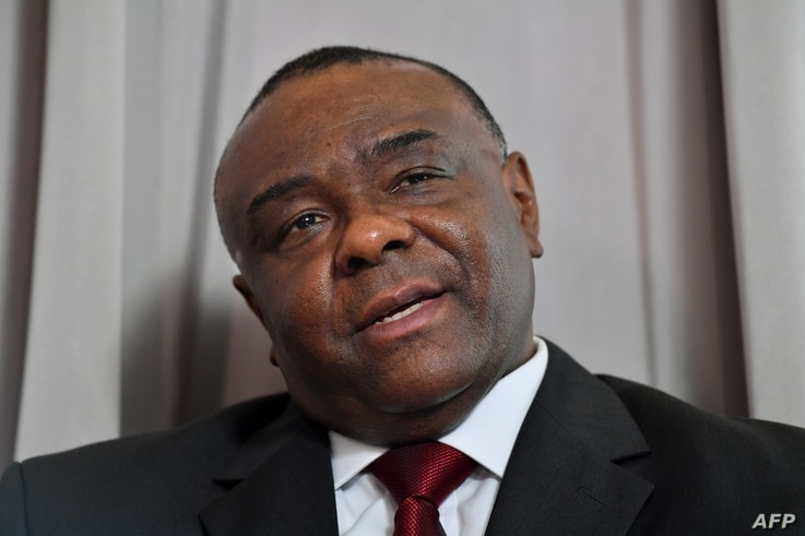 Former vice president of Democratic Republic of Congo Jean-Pierre Bemba addresses media representatives during a press conference in Brussels, July 24, 2018.