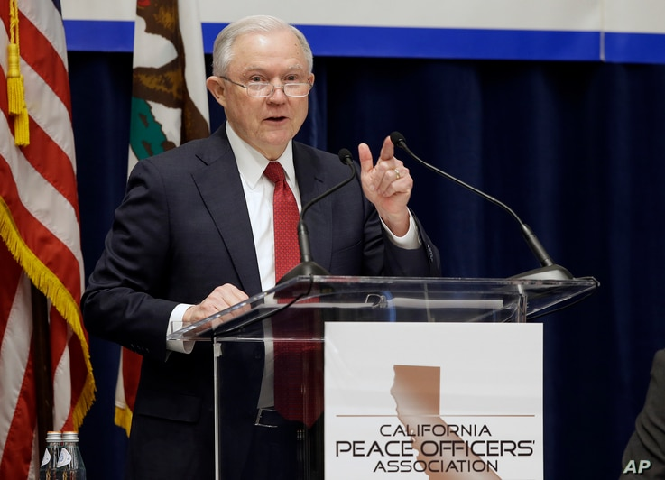 U.S. Attorney General Jeff Sessions addresses the California Peace Officers' Association at the 26th Annual Law Enforcement Legislative Day, March 7, 2018, in Sacramento, California.