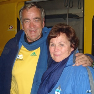 Guy and Sheryl Williams are enjoying the new experience of using public transportation in Johannesburg