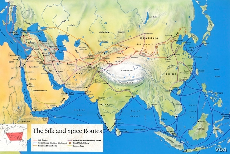 There were many trade routes between East and West. The Silk Road is shown in red on this map.