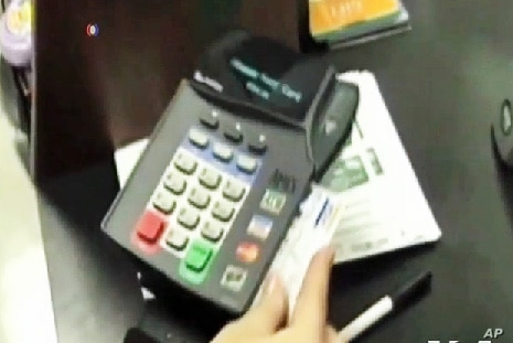 A credit card in use