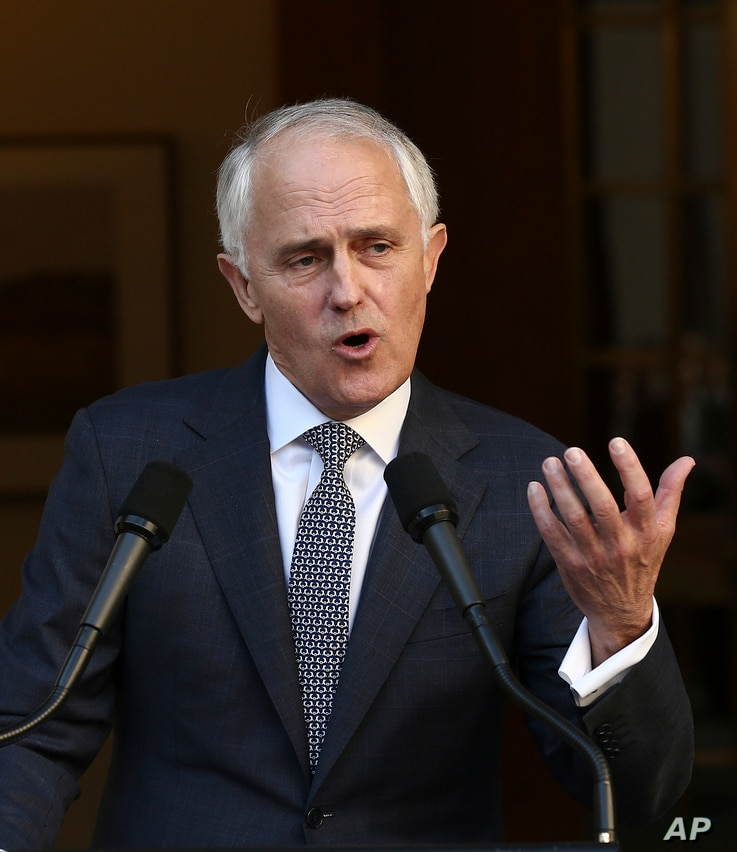 Australia Prime Minister Malcolm Turnbull announces his new cabinet during a press conference at Parliament House in Canberra, Australia, Sept. 20, 2015.