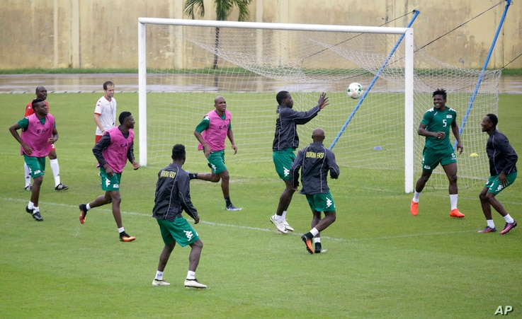 Members of Burkina Faso's soccer team play a training game in Libreville, Gabon, Jan. 31, 2017, ahead of their African Cup of Nations semi-finals match against Egypt.