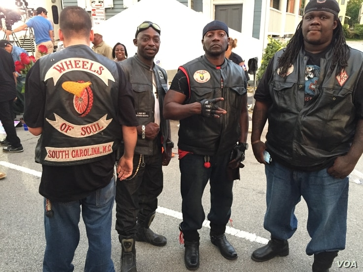 Members of Wheels of Soul, a black motorcycle club, came to Charleston to pay their respects. (Jerome Socolovsky/VOA News)