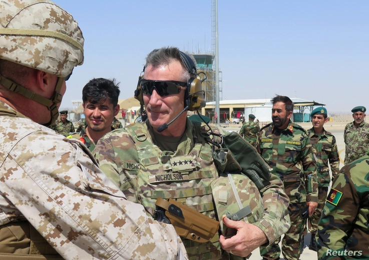 U.S. Army General John Nicholson, commander of Resolute Support forces and U.S. forces in Afghanistan, arrives during a transfer of authority ceremony at Shorab camp, in Helmand province, Afghanistan, April 29, 2017.