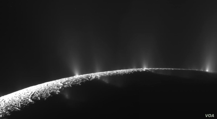 Numerous plumes are seen rising from long tiger-stripe canyons across Enceladus' craggy surface. Continued study of the ice plumes may yield further clues as to whether underground oceans, candidates for containing life, exist on this distant ice wor...