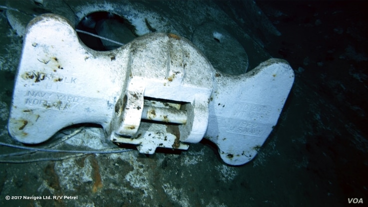 An image shot from a remotely operated vehicle shows the bottom of an anchor from the USS Indianapolis.