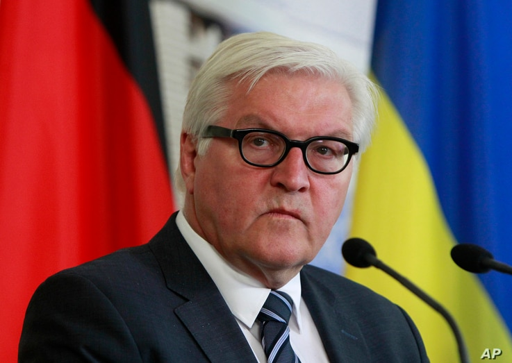 """FILE - German Foreign Minister Frank-Walter Steinmeier says the Russian travel ban on EU officials works against efforts """"to persistent and dangerous conflict in the middle of Europe."""""""