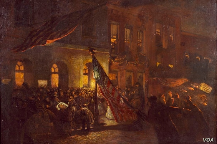 An oil painting of a mortally wounded President Abraham Lincoln as he is moved from Ford's Theatre, Washington, D.C. (Courtesy: Carol M. Highsmith, Library of Congress)