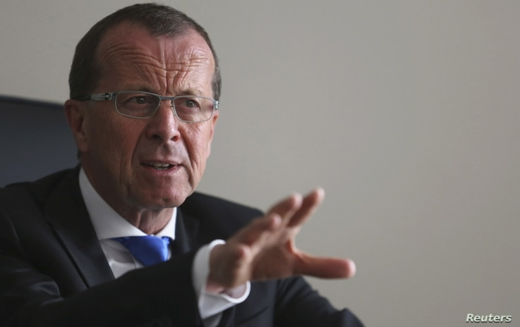 Martin Kobler, United Nations Special Representative and Head of the U.N. Support Mission in Libya, speaks during an interview with Reuters in Tunis, Tunisia, April 6, 2016.