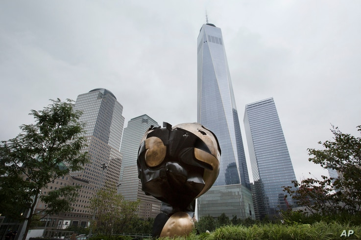 The Koenig Sphere is on display in Liberty Park adjacent to the World Trade Center, Sept. 6, 2017, in New York.