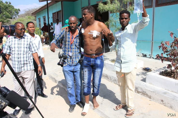 Mohamed Abdiwahab, a journalist with AFB, was wounded while covering Wednesday's bombings in Mogadishu.