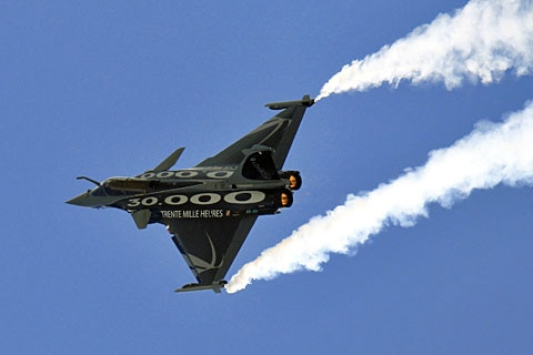 A Dassault Rafale fighter jet takes part in a flying display at the Le Bourget airport near Paris in this June 2011 file photo