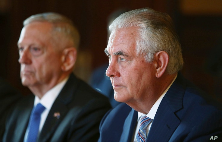 U.S. Secretary of State Rex Tillerson, right, and U.S. Secretary of Defense Jim Mattis participate in talks at Government House in Sydney for the 2017 Australia-United States Ministerial Consultations, June 5, 2017.