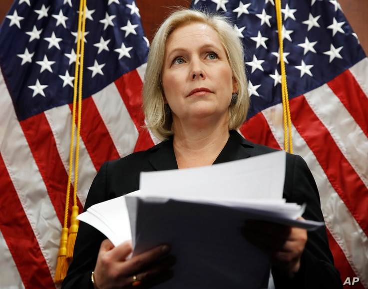 Sen. Kirsten Gillibrand, D-N.Y., attends a news conference, Dec. 12, 2017, on Capitol Hill in Washington.
