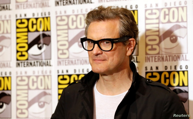 """Cast member Colin Firth poses at a press line for """"Kingsman: The Golden Circle"""" during the 2017 Comic-Con International Convention in San Diego, California, July 20, 2017."""