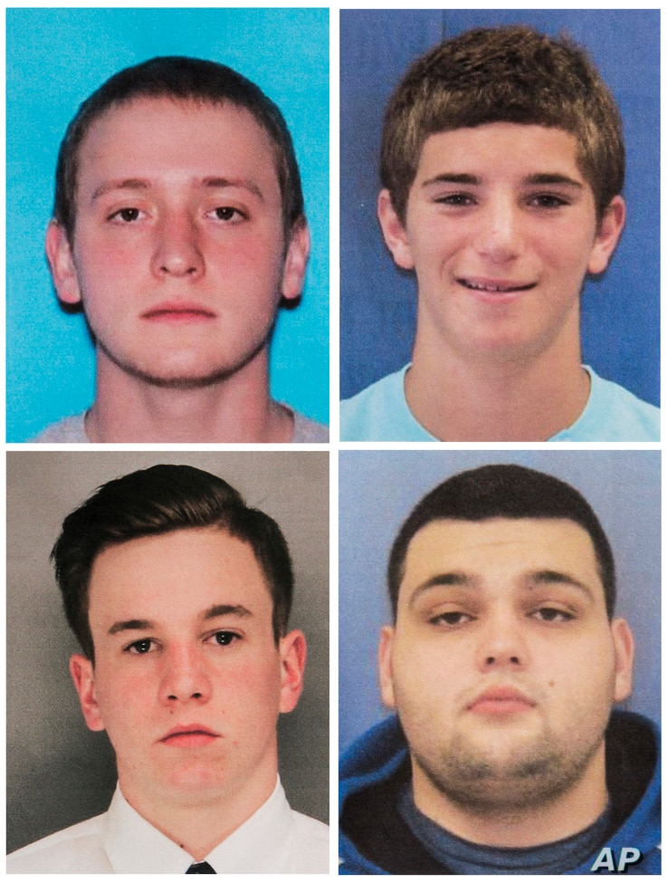 This combination of undated photos provided by the Bucks County District Attorney's Office shows four men who went missing last week: Tom Meo, top left; Jimi Tar Patrick, bottom left; Dean Finocchiaro, top right; and Mark Sturgis, bottom right.