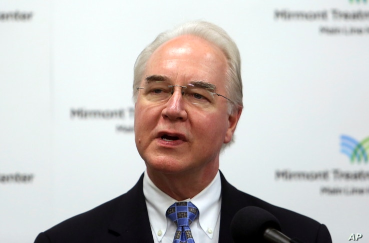 FILE - Health and Human Services Secretary Tom Price speaks at the Mirmont Treatment Center in Media, Pa., Sept. 15, 2017. Federal investigators say they are reviewing Health and Human Services Secretary Tom Price's recent use of costly charter fligh