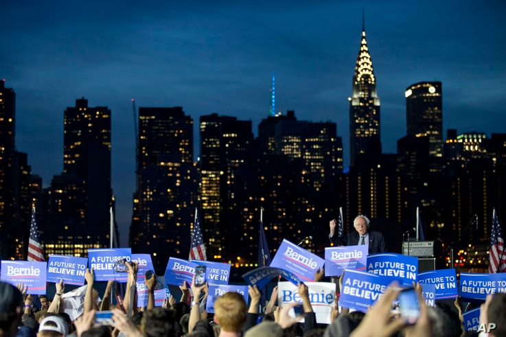 Democratic presidential candidate Bernie Sanders, I-Vt., speaks during a campaign rally at Hunters Point park in the Queens borough of New York, April 18, 2016.
