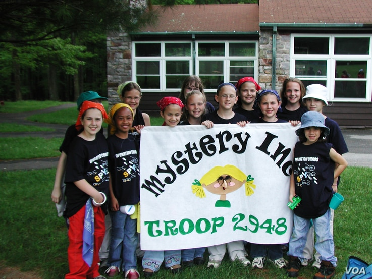 FILE - A group of girl scouts posing for a photo at Catoctin Park in Maryland. (photo by Diaa Bekheet)