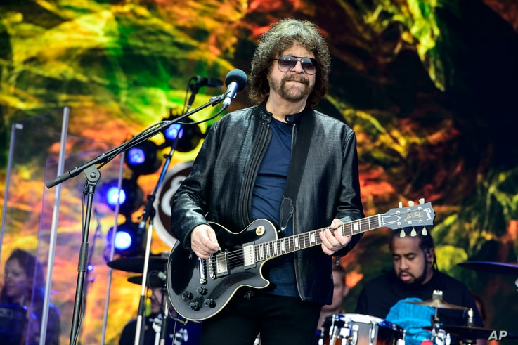 FILE - Jeff Lynne from British band Electric Light Orchestra performs at the Glastonbury Music Festival at Worthy Farm, in Somerset, England, June 26, 2016.