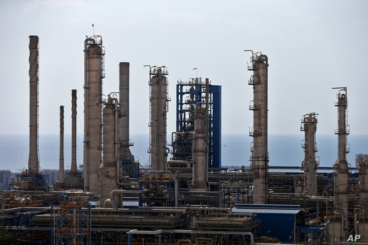 FILE - A general view of a petrochemical complex in the South Pars gas field in Asalouyeh, Iran, on the northern coast of Persian Gulf, Nov. 19, 2015.
