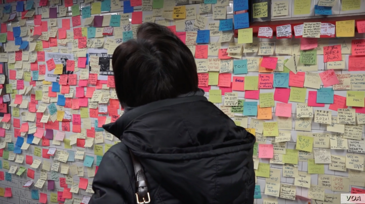 """""""Subway Therapy,"""" came alive on November 9 — the day after the U.S. election — inside New York's Union Square station, where New Yorkers jotted their thoughts on blank sticky notes, individually posting on the station's square tiles.  (R. T..."""