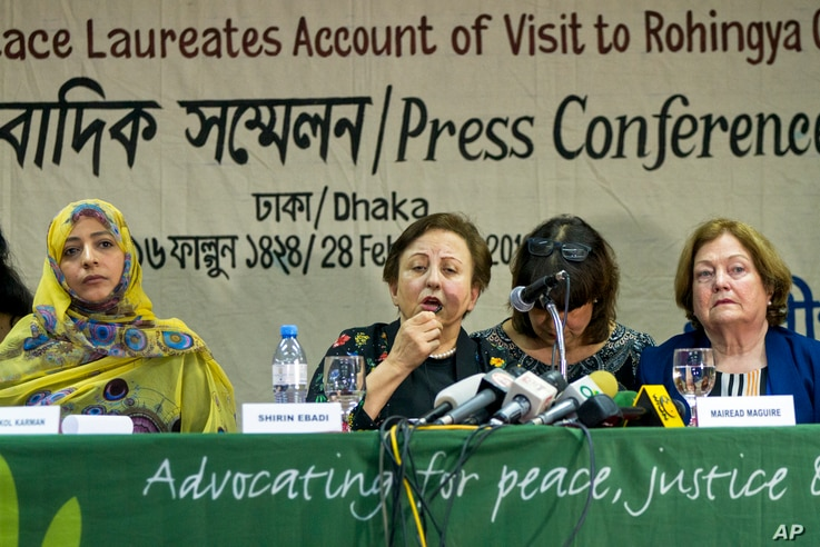 Nobel Peace laureates, from left, Yemen's Tawakkol Karman, Iran's Shirin Ebadi and Ireland's Mairead Maguire address a press conference after their visit to the Rohingya refugee camps in Dhaka, Bangladesh, Feb. 28, 2018.