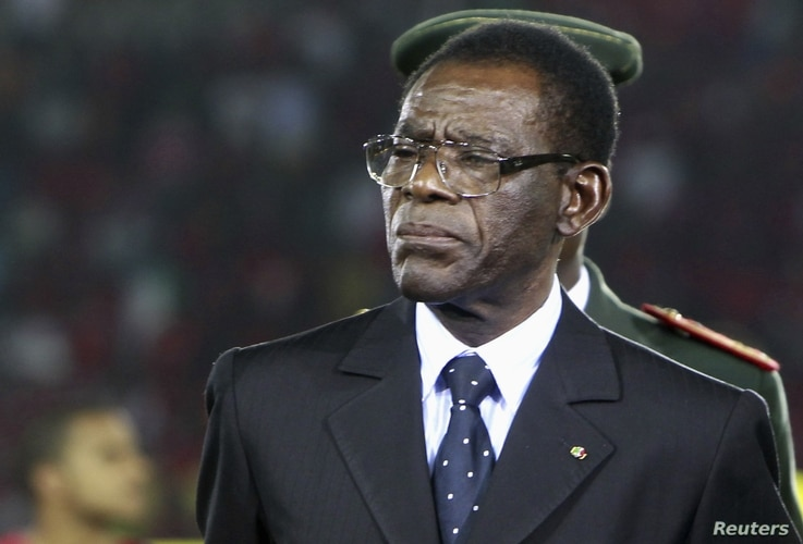 Equatorial Guinea's President Teodoro Obiang Nguema Mbasogo, opening ceremony of African Nations Cup soccer tournament, Bata, Jan. 21, 2012.