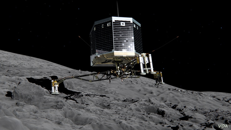 Still image from animation of Philae separating from Rosetta and descending to the surface of comet 67P/Churyumov-Gerasimenko, Nov. 2014.