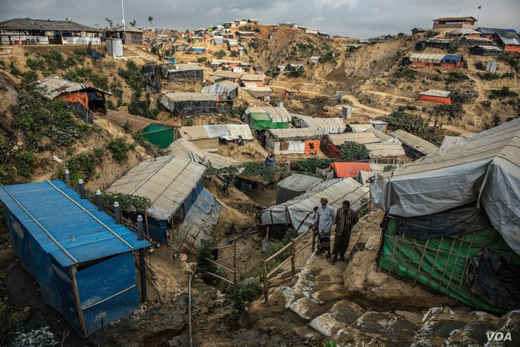 Refugee shelters are packed onto steep hillsides in the Bulukhali camp in southeastern Bangladesh. May and June bring cyclones and monsoons, and aid groups warn of landslides, floods, and disease outbreaks in the refugee camps.